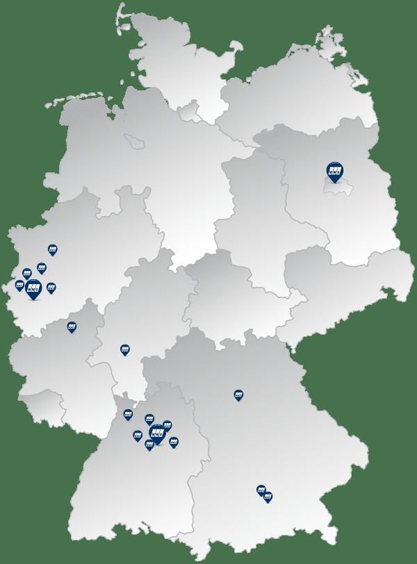 Die Standorte der WWS Schutz und Sicherheit GmbH